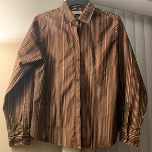 Cute brown button collard long sleeve shirt